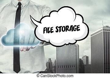 gegevensverwerking, tekst, opslag, thema, bestand, zakenman, wolk