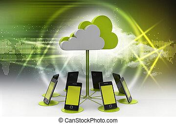 gegevensverwerking, wolk, artikelen & hulpmiddelen, concepten