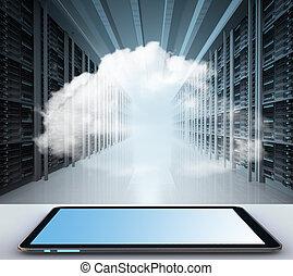 gegevensverwerking, wolk, concept