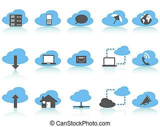gegevensverwerking, wolk, iconen, blauwe , set, reeks, eenvoudig