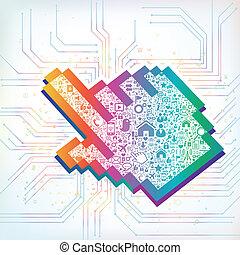 gegevensverwerking, wolk, meldingsbord, hand