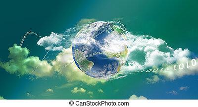 gegevensverwerking, wolk, panoramisch, technologie