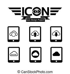 gegevensverwerking, wolk, pictogram