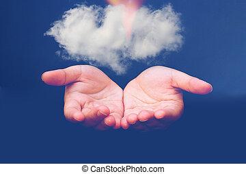 gegevensverwerking, wolk, vasthouden, zakenman, cloud.