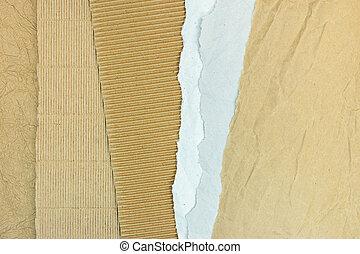 gegolfd, bruine , gescheurd, grijze , papier, bladen, karton