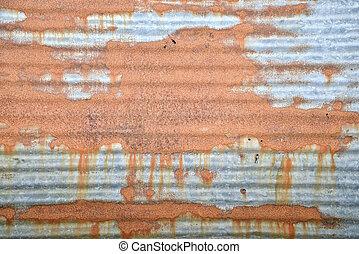 gegolfd, grunge, metaal, achtergrond, muur, roestige , zink