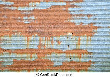 gegolfd, grunge, zink, muur, metaal, roestige , achtergrond