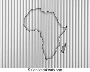 gegolfd, kaart, afrika, ijzer