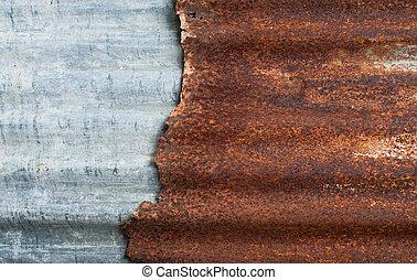gegolfd, stijl, grunge, zink, muur, metaal, roestige , achtergrond