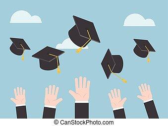 gegooi, afgestudeerd, lucht, handen, zakenman, hoedje