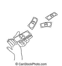 gegooi, geld, maken, informatietechnologie, rain., handen