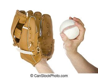 gegooi, honkbal, in, handschoen