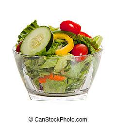 gegooide, groentes, gevarieerd, slaatje