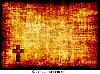 gegraveerde, kruis, heilig, perkament