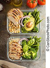 gegrilde kip, maaltijd, prep, containers