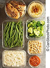 gegrilde kip, maaltijd, prep, met, gaar, rijst