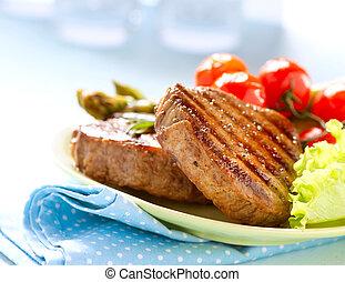 gegrillt, fleischsteak, fleisch, mit, gemuese
