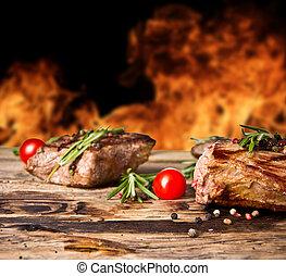 gegrillt, hintergrund, feuerflammen, rindfleisch, steaks