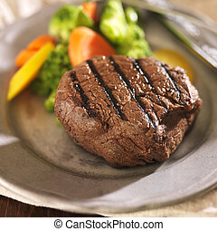 gegrillt, platte, gemuese, steak