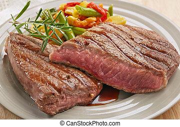gegrillt, steak, rindfleisch