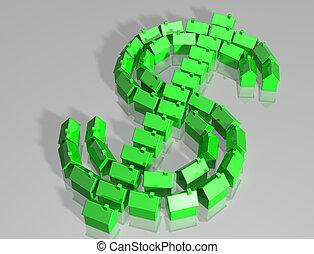 gehäuse, dollar- symbol, markt