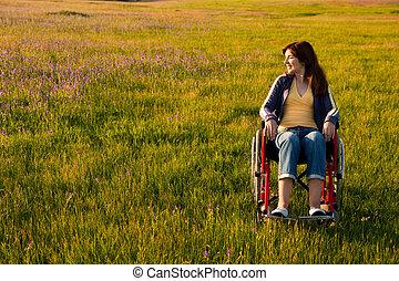 gehandicapt, wheelchair, vrouw