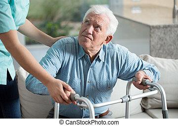 gehandicapte man, in, verpleeghuis