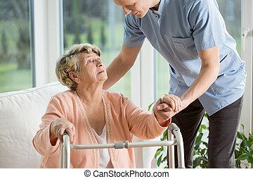 gehandicapte vrouw, gebruik, walker