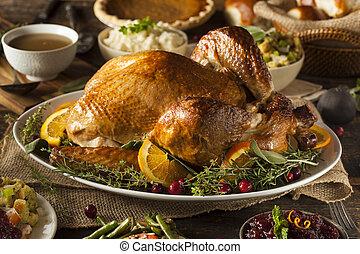 geheel, zelfgemaakt, dankviering kalkoen