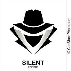 geheim, hacker., agant secret, icon., dienst, incognito., ...