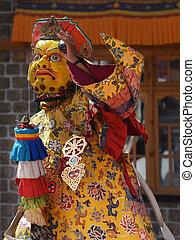 geheimnis, kashmir, jammu, tanz, buddhist, maske, tanz, cham, ladakh, india., shabala