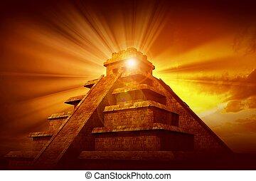 geheimnis, maya, pyramide