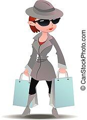 geheimnis, spion, frau- einkaufen, käufer, säcke, mantel, papier