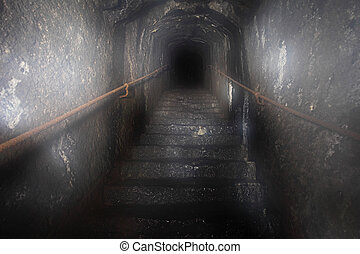 geheimnis, tunnel, dunkel, treppenaufgang, heraus