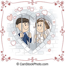 geheiratet, paar, in, gefã¤ngnis, vektor