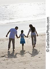 gehen, familie, halten hände, sandstrand, hintere ansicht