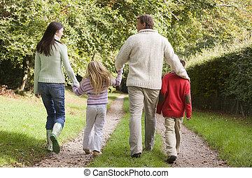 gehen, familie, spur, entlang, hintere ansicht