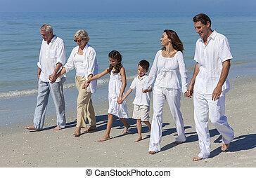 gehen, familie, vater, großeltern, mutter, sandstrand, kinder