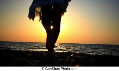 Gehen, frau, romantische, Sonnig, junger, Verwischt, felsig,...