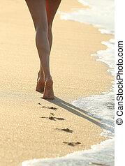 gehen, frau, sand, backlit, beine, sandstrand