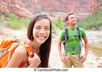 gehen, frau, zion, wandern, park, -, wanderer, porträt