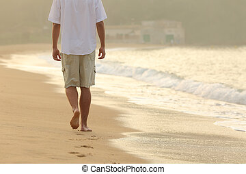 gehen, fußabdrücke, abgang, sandstrand, mann