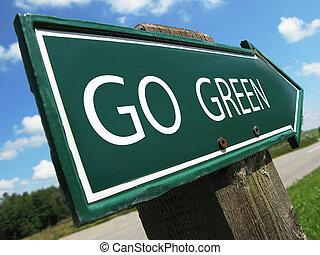 gehen, grün, straße zeichen