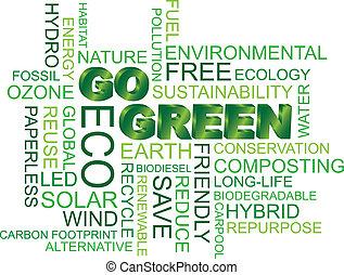 gehen, grün, wort, wolke, abbildung