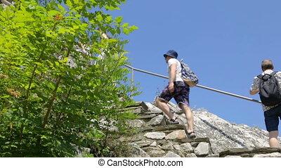 gehen, gruppe, oben, tourist