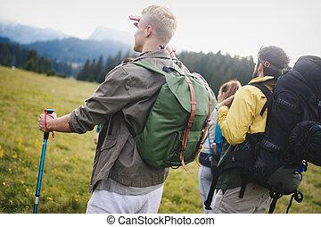 gehen, gruppe, wandern, leute, friends, countryside., junger, durch, mountain.
