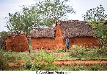 gehen, junger, traditionelle , dorf, afrikanisch, kenia, m�dchen