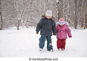 gehen, kinder, schnee, zwei