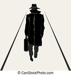 gehen, maenner, silhouette, aktentasche, hand