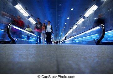 gehen, metro, leute